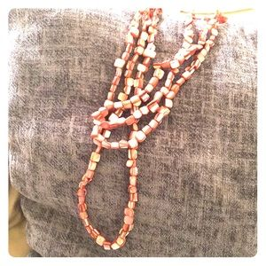 Very long 60in square coral mother of pearl beads